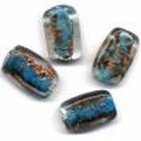 Glaskralen handmade Rechthoek Licht Turquoise 11809-1401 13x19mm 4stuks
