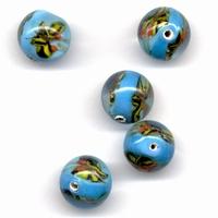 Glaskraal handmade Transp. Turquoise met design 11809-1601 12mm 5stuks