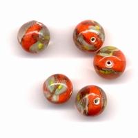 Glaskraal handmade Transp. Oranje-wit met design 11809-1603 12mm 5stuks