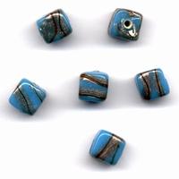 Glaskraal handmade Vierkant Opaque Turquoise 11809-2001 10x10mm 6stuks