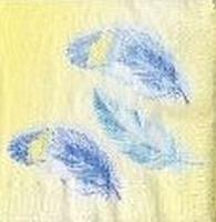 Servet: Blauwe veren op gele achtergrond OP=OP 33x33cm/5stuks