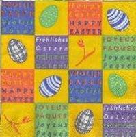 Servet: Paasservet diverse motieven 2 (Happy Easter) OP=OP 33x33cm/5stuks