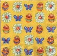 Servet: Pasen diverse motieven(ei, vlinder, bloem) OP=OP 33x33cm/5stuks
