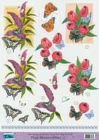 Top Butterflies nr.1 - 3DA4-TB001 Vlinders en bloemen