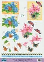 Top Butterflies nr.2 - 3DA4-TB002 Vlinders en bloemen