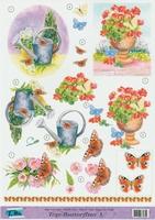 Top Butterflies nr.3 - 3DA4-TB003 Vlinders en bloemen