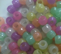 Pony beads 9mm Glow in the dark multi ca.90 stuks 20gram
