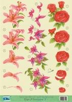 Top Flowers nr.1 - 3DA4-TF001 Bloemen, Lelie, Roos, Fuchsia
