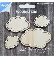 JoyCrafts Woodsters 6320/0020 Houten Wolken 4stuks