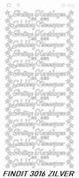 Stickervel Findit CD3016Z Prettige kerstdagen Gelukkig nieuw