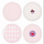 Papieren mini cupcake vormpjes Rico40.06 Roze-Wit 100stuks