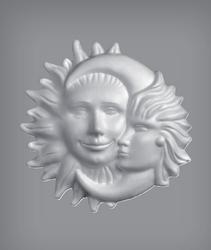 Styropor La Luna,  Zon en Maan, vlakke achterkant 26 cm