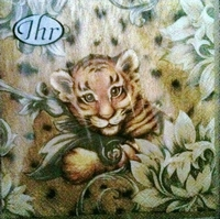 IHR servet L53860 Tiger Baby cream, los verpakt 5 stuks 33x33cm 3-laags