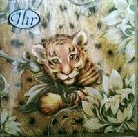 IHR servet L53860 Tiger Baby cream, los verpakt 5 stuks