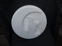 Styropor snijvorm Heksje op maan + achtergrond 30cm 2-delig