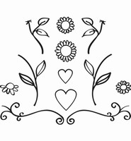 FG2462 Quilling Clear Stamp Flowers and Hearts 7,5x8cm