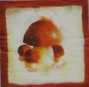 Servet: Paddestoelen roodbruin/lichte achtergrond 3st. OP=OP 33 x 33 cm