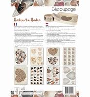 Decoupagepakket Harten, HobbyCirkels, Elly de Waal 8339 A4 8 vel 120gr