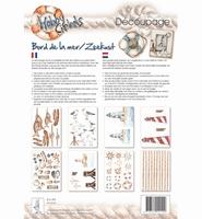 Decoupagepakket Zeekust, Hobby Cirkels, Elly de Waal op=op A4 8 vel 120gr